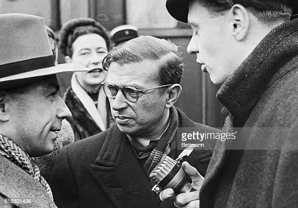 1/29/1948Berlin GermanyJean Paul Sartre the great French writer and author of the famous play The Flies which was recently performed in Dusseldorf...