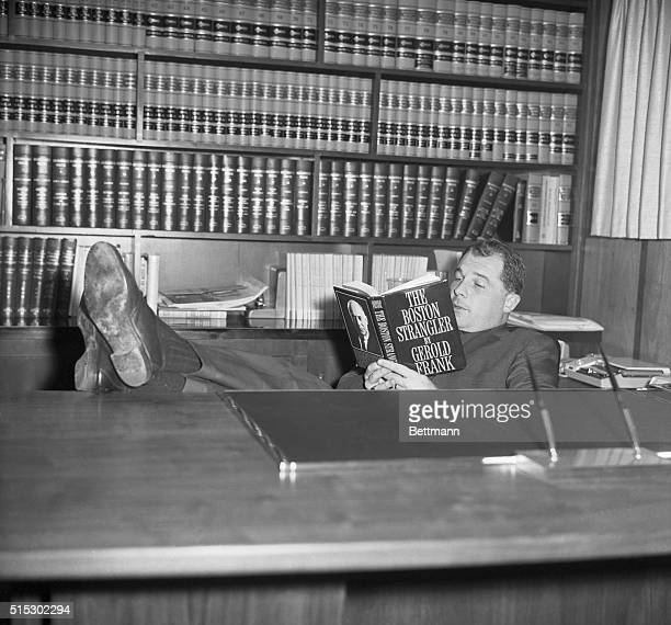 12/9/1966Marshfield MassachusettsOne of today's most publicized defense lawyers F Lee Bailey relaxes in his home library with a book about one of his...