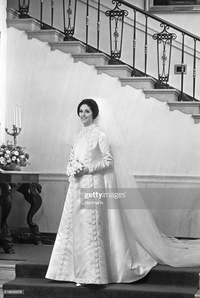 Lynda Johnson Is Shown In Her Wedding Gown Designed By Geoffrey Beene Of New York City