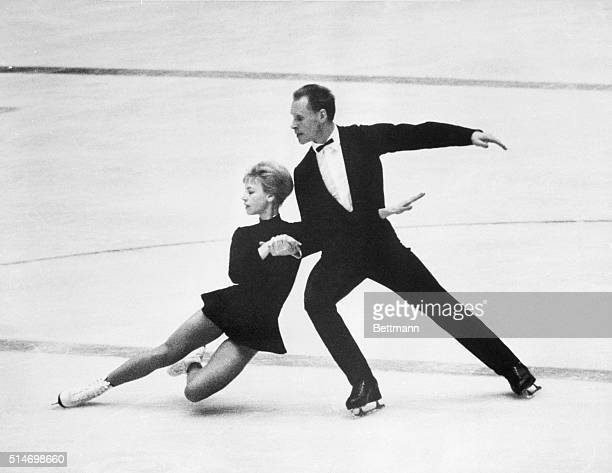 1/29/64Innsbruck Austria Lumilla Belousova and Oleg Protopopov during their performance in the Olympic pairs figure skating competition tonight in...