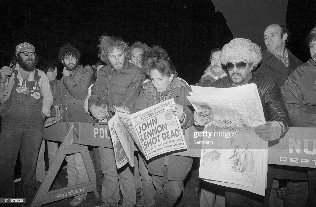 Headlines Telling Of John Lennon'S Death : News Photo