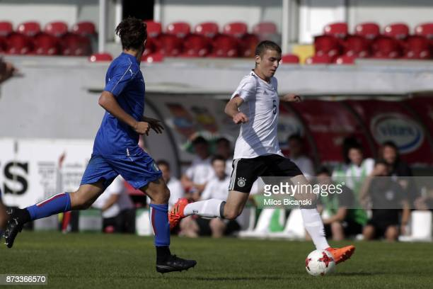 Beyer Louis Jordan of Germany in action during the Germany vs Italy U18 friendly match at Ammochostos Stadium at Larnaca on November 12 2017 in...