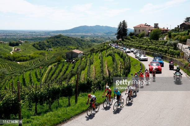 A 12men breakaway group with Team AG2R La Mondiale rider France's Francois Bidard Team Androni rider Italy's Andrea Vendrame Team Bardiani rider...