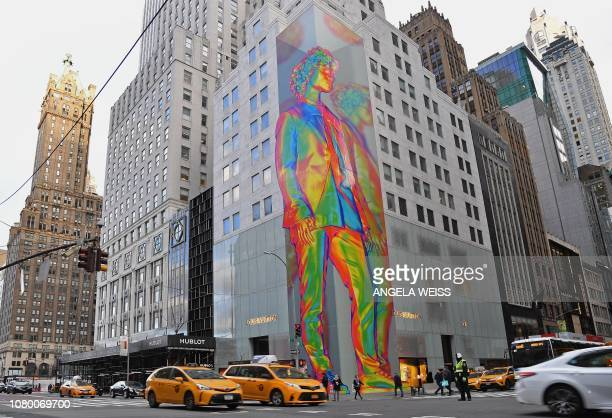 A 12story art installation by Virgil Abloh is seen at the Louis Vuitton flagship store on Fifth Avenue in New York City on January 10 celebrating the...