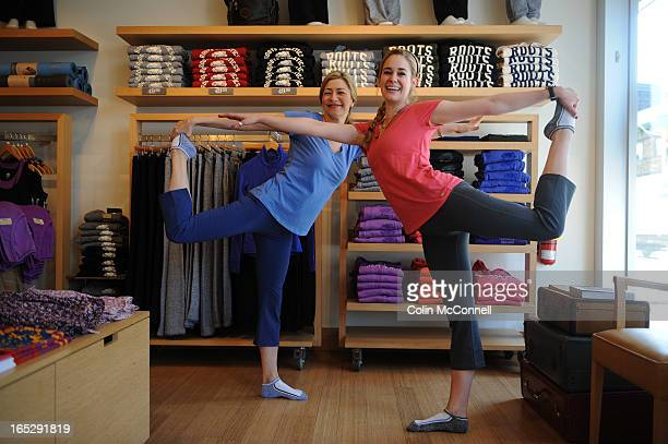 APRIL 12th 2010pics of storegazing feature to go with ritas story on actors brittany bristow and angela asher in blueshopping in roots trying on yoga...