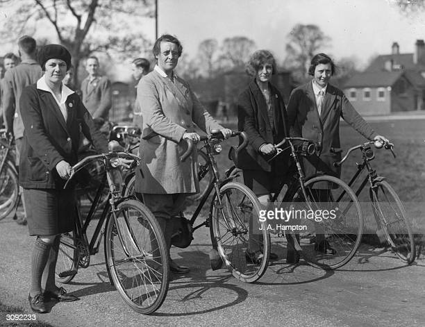 Members of the Southern section of the Cyclist's Touring Club at Mitcham in Surrey on the first sunny weekend of spring