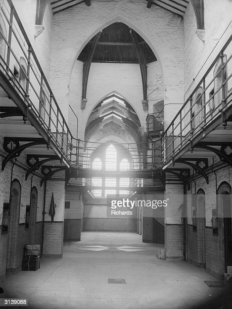 The interior of Carmathen's old prison now used as the Borough Council Office The old execution shed is used as a garage