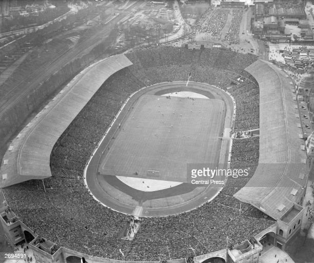 Wembley Stadium during an international match between England and Scotland