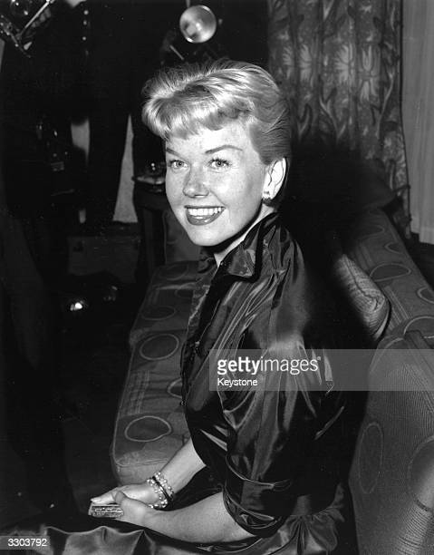 American singeractress Doris Day attending a reception at Claridges Hotel in London April 1955