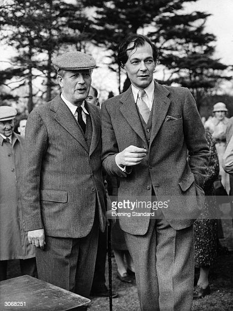 Prime Minister Harold MacMillan and his son Maurice in the grounds of their home Birch Grove House