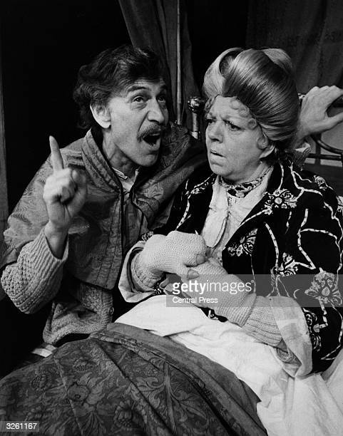 Peter Wyngarde and Hermione Baddeley as Adam and Mammles in Charles Dyer's 'Mother Adam' at the Hampstead Theatre Club