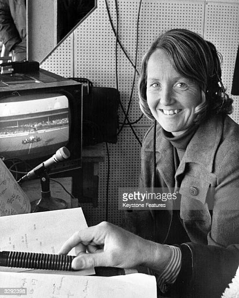 The cricketer Rachael HeyhoeFlint at work in the commentary box at Wembley Stadium London She is television's first woman sports commentator and also...