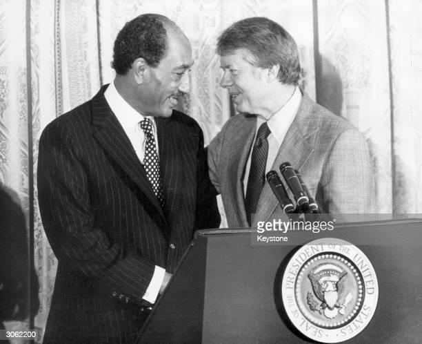 President Jimmy Carter meeting President Anwar Sadat of Egypt during his visit to the White House in Washington.