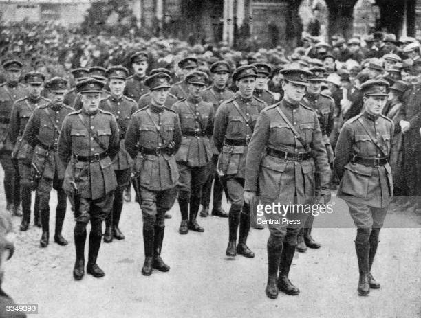 Irish politician and Sinn Fein leader Michael Collins and General Mulcahy leading the GHQ Staff at the funeral of the Irish Free Stater founder of...