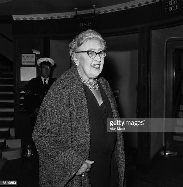 First lady of crime writing Agatha Christie at the London premiere of her new play 'The Unexpected Guest'