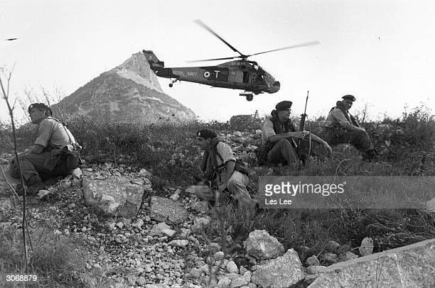 Royal Marines arrive on the British dependency of Gibraltar by helicopter