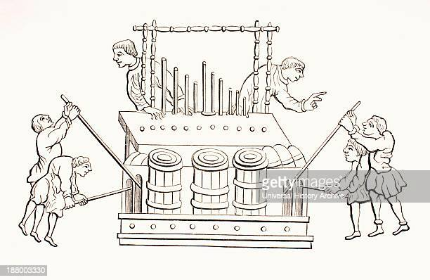 12Th Century Bellows Organ With Two Keyboards From Les Artes Au Moyen Age Published Paris 1873