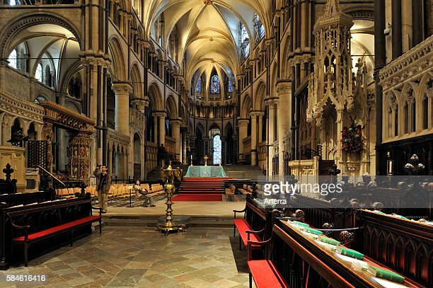 12th century choir stalls inside the Canterbury Cathedral in Canterbury Kent England UK