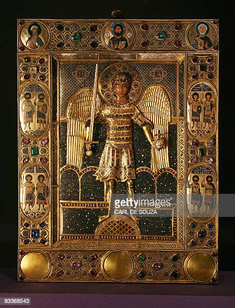 A 12th Century enamel icon of the Archangel Michael at the Entrance to Paradise is displayed at the Royal Academy of Arts in London on October 21...