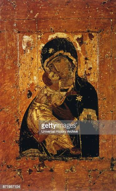 12th Century Our Lady of Vladimir icon painted in Constantinople of Virgin Mary and baby Jesus Russian