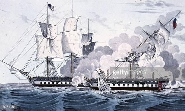 The 44gun American naval frigate 'Constitution' nicknamed 'Old Ironsides' and captained by Commodore William Bainbridge captures the British vessel...