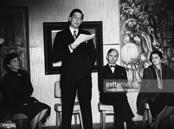 7th Earl of Harewood, George Henry Lascelles with actress Margaret Rawlings, Herbert Read, the President of the Institute of Contemporary Art, and...