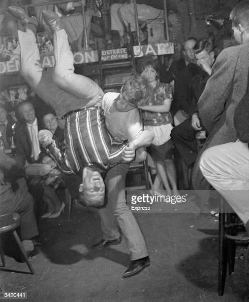 German teenagers dancing to rock 'n' roll music at a youth club in Krenzberg