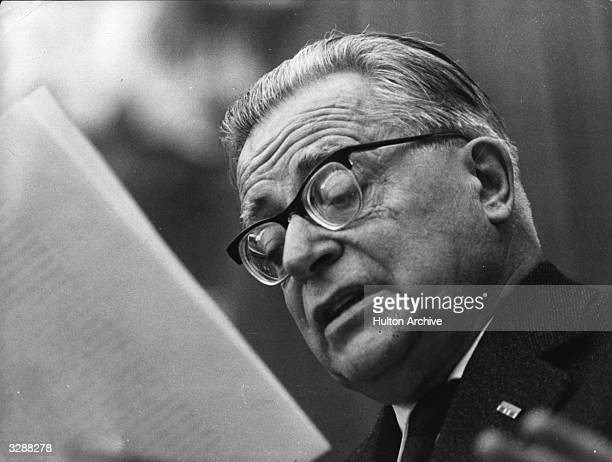 The leader of the Italian Communist party Palmiro Togliatti making the introduction speech at the inauguration of the tenth Congress of the party