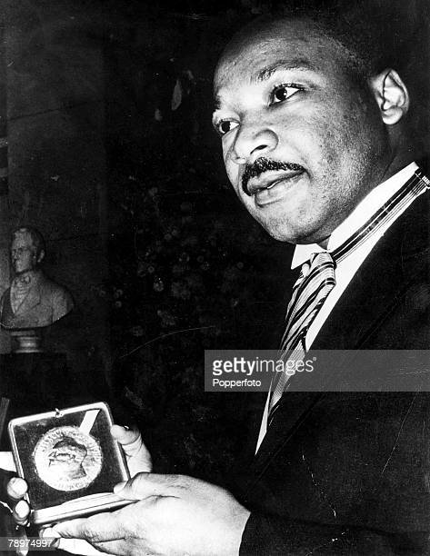 12th December 1964 Reverand Martin Luther King holding the Nobel peace prize Gold Medal for 1964 at a ceremony at the University of Olso here today