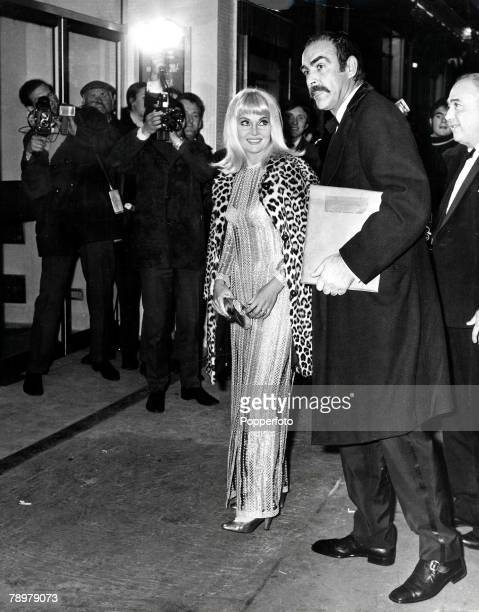 12th December 1968 Actor Sean Connery arriving at the Leicester Square Theatre in London last night with his wife Diane Cilento for the premiere of...