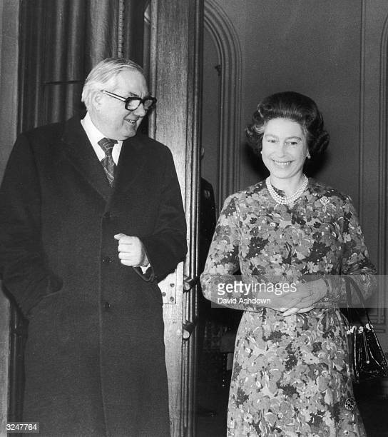 British prime minister James Callaghan with Queen Elizabeth II on his arrival at Windsor Castle for lunch.