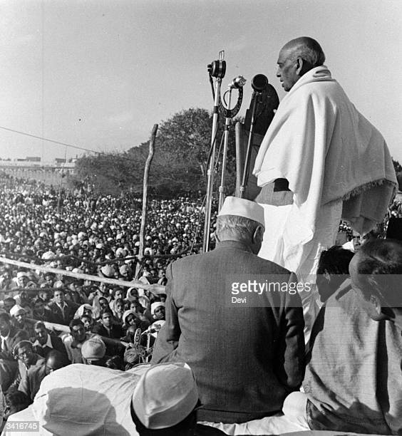 Indian politician Sardar Balabhai Patel speaking at a rally in New Delhi to pay tribute to the assassinated Indian statesman and advocate of...
