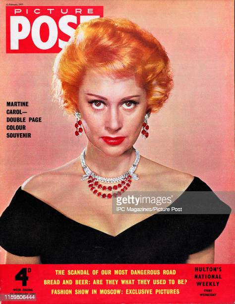 French film actress Martine Carol is featured for the cover of Picture Post magazine Original Publication Picture Post Cover Vol 66 No 07 pub 1955