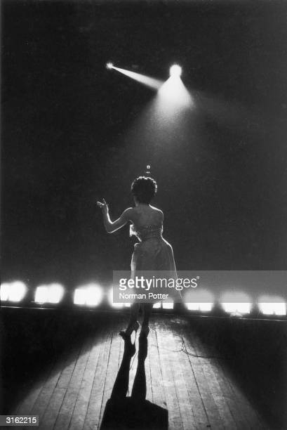 Pop singer Susan Maughan who had success in 1962 with her hit 'Bobby's Girl' singing on stage
