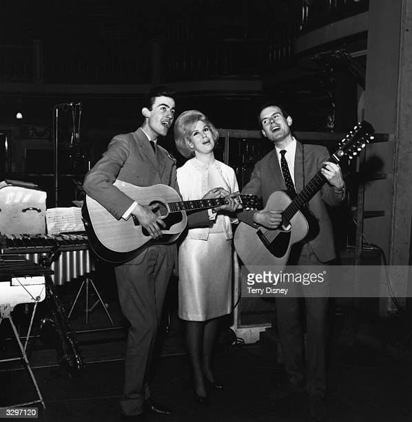 Top British folk pop group The Springfields featuring singer Dusty Springfield and her brother Tom