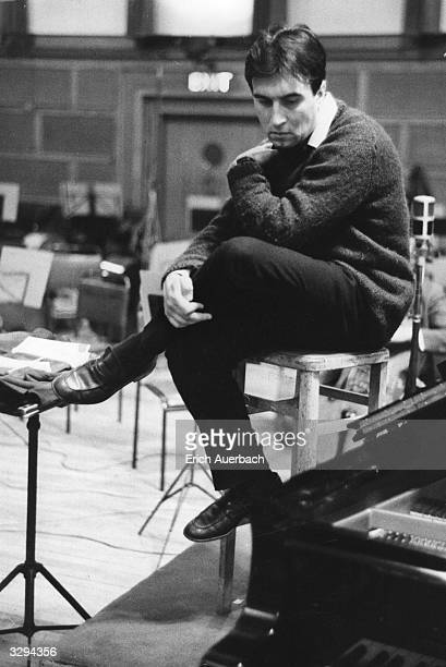 Italian conductor Claudio Abbado during a break in a recording session at Walthamstow Town Hall, London.
