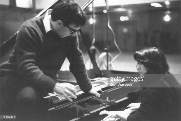 Italian conductor Claudio Abbado with pianist Martha Argerich