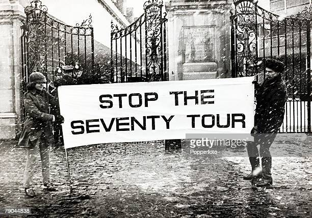 12th February 1970 A picture of a demonstation against the South Africa cricket tour of the next summer outside Lords cricket ground