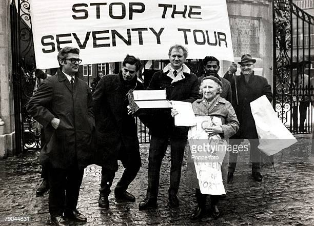 12th February 1970 A picture of an antiapartheid demonstation against the South Africa cricket tour of the next summer outside Lords cricket ground