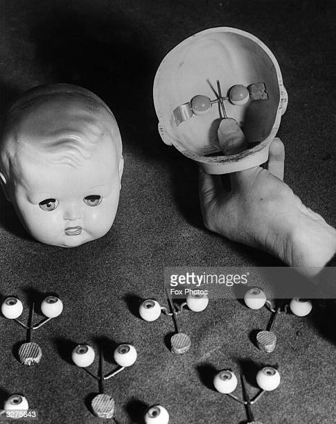 Dolls eyes and the plastic mouldings used in the manufacture of toys' faces at a factory run by Mr Dominy in Totton Southampton