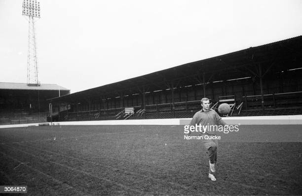 Bobby Moore of West Ham FC and Captain of England trains on his home ground Voted Footballer of the Year in 1964 he was awarded the OBE in 1967