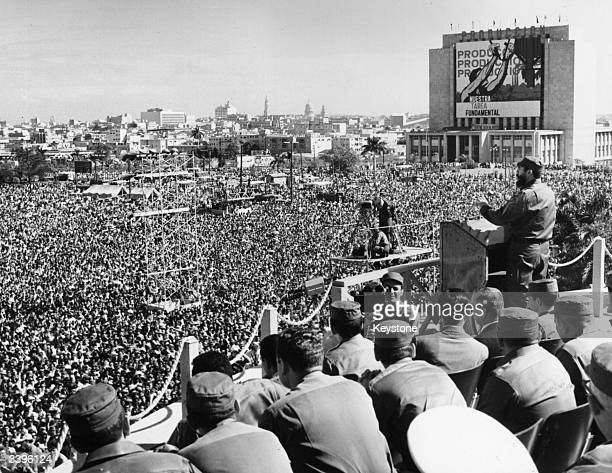 Cuban prime minister Fidel Castro making a speech in Jose Marti Revolution Square, Havana, at a military parade and rally.