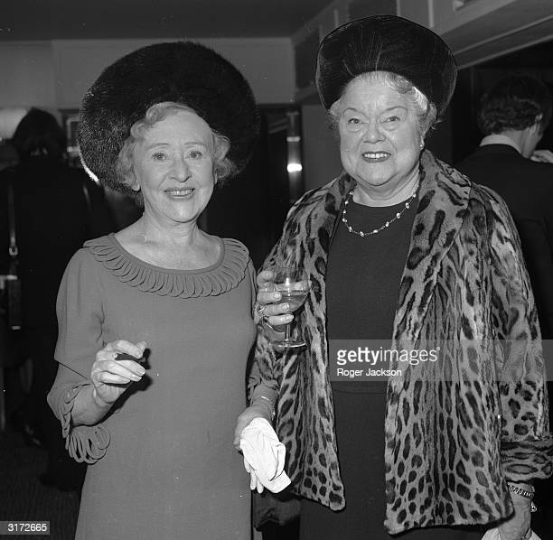 Coronation Street's two stars Doris Speed who plays Annie Walker and Violet Carson who plays Ena Sharples at the Savoy Hotel in London celebrating...