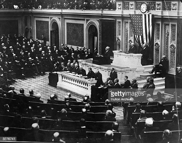 President Warren Gamaliel Harding delivering his first annual message in person at the regular session of Congress attended for the first time by...