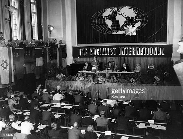 The opening of the Socialist International Congress in London with Dr Edith Summerskill making the welcoming speech as leader of the Labour Party at...