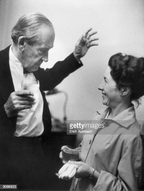 Architect and designer Walter Gropius founder of the Bauhaus and a refugee from Nazi Germany who eventually settled in the USA He is talking to a...