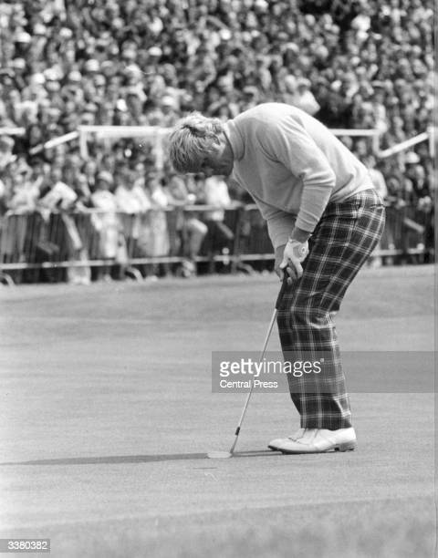 American golfer Jack Nicklaus known as the Golden Bear in action at the 18th green during the British Open Golf Championship at Troon The 8th hole at...
