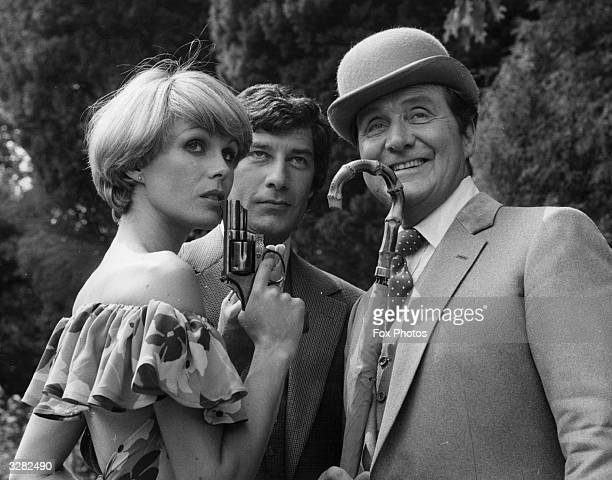 Actors from 'The Avengers' series, with from left to right Joanna Lumley as Purdey, Gareth Hunt as Mike Gambit and Patrick Macnee as John Steed at...