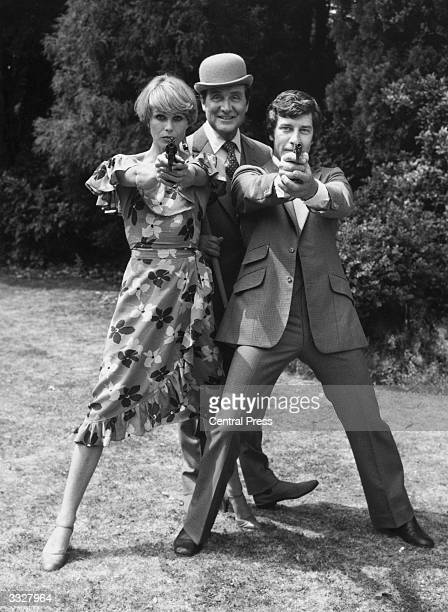 Purdey, Steed and Gambit played by Joanna Lumley, Patrick MacNee and Gareth Hunt, from the television series 'The New Avengers'.