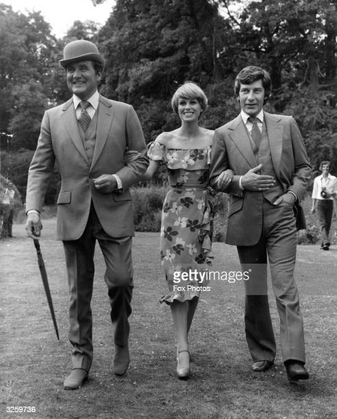 The actors who play the principal parts in the forthcoming series 'The New Avengers', at Pinewood Studios. From left, Patrick MacNee as John Stead,...
